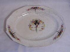 vintage PENN China Parrot bird & floral pattern oval Serving PLATTER plate