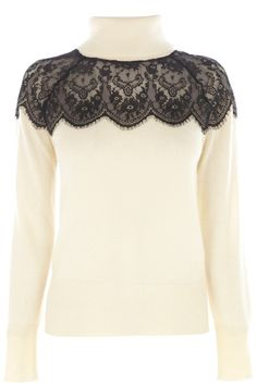 It's all about the polo neck this season and this jumper features a pretty lace insert across the top for a feminine finish. The piece features long sleeve styling and a ribbed finish on the hem and cuffs.