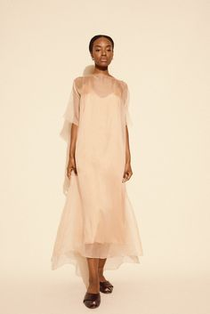 Kamperett, Air Silk Organza Sheath Dress, Blush