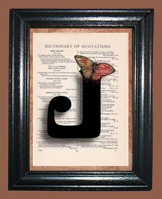 Curly Letter J with Brown  Red Butterfly  Vintage by CocoPuffsArt, $9.99