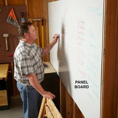 Write on Your Walls     If you have the wall space, get a 4 x 8-ft. sheet of panel board and hang it on your wall. It's cheap and makes a great dry-erase board. Use it for shopping lists, tool wish lists, phone numbers, cutting lists, figuring out designs and whatever else comes to mind.