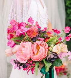best + most popular wedding bouquets of 2016 // Bright Bouquet Brimming with Bougainvillea + Peonies