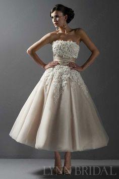 A Line Tea Length Lace Little Short Wedding Dress