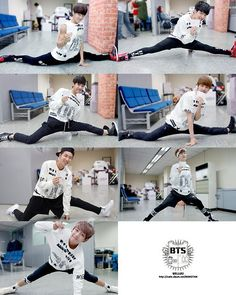"BTS trying to do the split :') Rap Monster and Suga are like ""fuck it i can't do…"