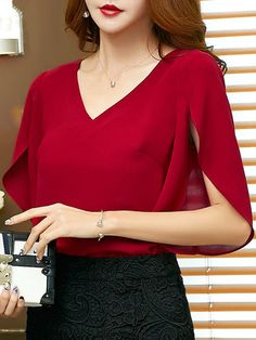 Look Fashion, Womens Fashion, Half Sleeves, Chiffon, Glamour, Lady, Blouse, Casual, Clothes