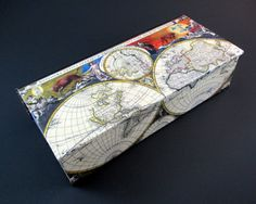 Decorative box old world map vintage leather look desk organizer watch box with colorful antique map mens watch by theboxshop1618 gumiabroncs Image collections