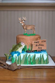 Hunting and fishing cake