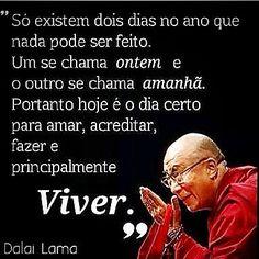"""""""Só existe dois dias no ano que nada pode ser feito. Um se chama ontem e outro se chama amanhã. Portanto hoje é o dia certo para amar, acreditar, fazer e principalmente viver."""" Dalai Lama"""