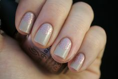 Favorite EVER: Color Club's Nomadic Nude stamped with China Glaze's Poetic. By Nailed It.