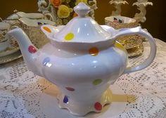 Beautiful Large retro porcelain polka dot teapot
