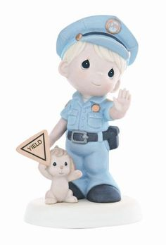 """""""You Serve & Protect"""" Precious Moments Police Figurine - - Mana vietne Police Love, Police Baby, Precious Moments Figurines, Community Helpers, My Precious, My Collection, Beautiful Family, Cold Porcelain, Ways Of Seeing"""