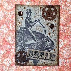 明日から始まるホビーショー✨✨✨ちまちまATC作成中‼️良かったら交換して下さいね❤️ #アーティストトレーディングカード #ホビーショー #ホビーショー2016 #steampunk #sea #scrapbook #scrapbooking #stamp #atc #スクラップブッキング #スクラップ #スタンプ #g45 #graphic45 #graphic45paper #スチームパンク#arttradingcard