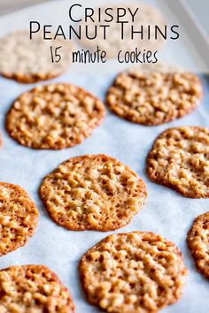 These peanut thins are one of the first biscuits I learnt to make. They are supe. Peanut Cookies, Crispy Cookies, Sprinkle Cookies, Yummy Cookies, Sugar Free Peanut Butter Cookies, Peanut Butter Biscuits, Making Cookies, Peanut Recipes, Cookie Recipes