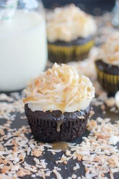 Toasted Coconut Caramel Chocolate Cupcakes with Coconut Buttercream Frosting #cupcake #recipes