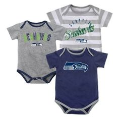 Seattle Seahawks Newborn Field Goal 3-Piece Creeper Set - Gray