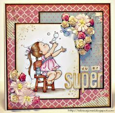 {Re}kreasjoner: KOM #7 Mo Manning digi stamp Bubbles girl, colored with ProMarkers. Girlie card