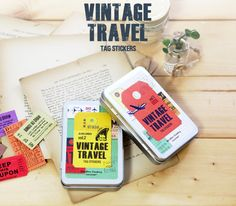 eBay | 7321 Diary Decoration Vintage Travel Tag Label Adhesive Sticker + Tin Case Set