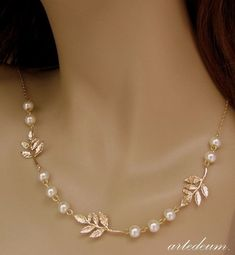 Bridal necklace Ivory Pearls Leaves Wedding necklace Woodland wedding gold and ivory dainty Romantic nature inspired short antique gold Gold Earrings Designs, Gold Jewellery Design, Necklace Designs, Bridal Necklace, Bridal Jewelry, Beaded Jewelry, Pearl Necklace, Flower Jewelry, Leather Jewelry