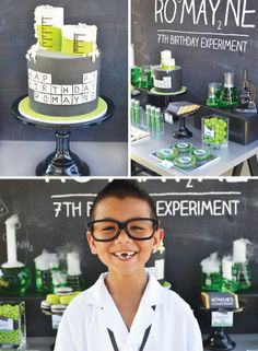 Such a cute periodic table inspired cake and scientific birthday boy!