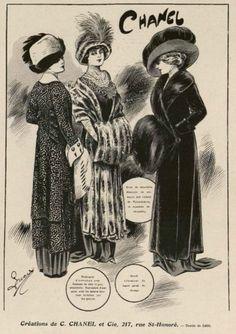 1909 - Chanel hats & furcoats ad. #style #autumn