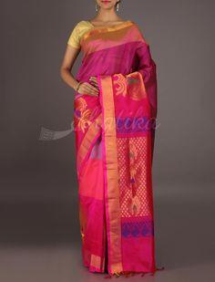 Aradhana Gradients Of Pink Bold Gold Motifs Dressy #MangalgiriSilkSaree