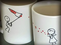 Resultado de imagen de pintar tazas ceramica san valentin