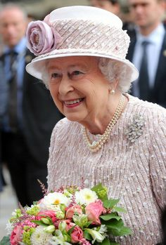 Queen Elizabeth, June 7, 2014 in Angela Kelly | Royal Hats.....Posted on June 8, 2014 by HatQueen......On the final day of her and the Duke of Edinburgh's state visit to France, Queen Elizabeth joined French President Francois Hollande and Paris Mayor Anne Hidalgo at a ceremony that renamed a Paris flower market in her honour.