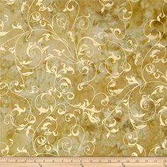 Indian Batiks Metallic Scroll Khaki