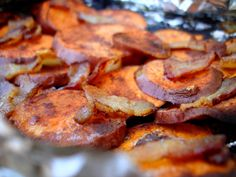 Backyard Sweet Potatoes from PaleOMG.  Bacon, cinnamon, and sweet potatoes wrapped in foil and grilled