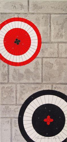 木版画 加藤晃秀「出会い傘」