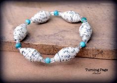 Handmade Paper Bead Bracelet-recycled book pages