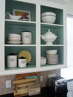 Summer project: open cabinets, pretty color inside