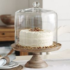 With its simple forms and rough-hewn grain patterns, our Jillian Serving Collection Cake Stand brings the organic beauty of natural mango wood to your table. Cake Stand With Cover, Pastry Display, 3 Layer Cakes, Cake Dome, Dessert Stand, Cupcake Stands, Cake Stand Decor, Dessert Tables, Tall Cakes