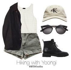 """Hiking with Yoongi"" by btsoutfits ❤ liked on Polyvore featuring American Apparel, Wren, Barbour and Giuseppe Zanotti"