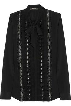 Roberto Cavalli Embellished silk-georgette blouse | THE OUTNET