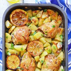 Greek Chicken Sheet Pan Dinner - chicken thighs and potatoes in lemon, garlic, oregano and olive oil marinade - all baked in one pan while you're relaxing! This easy dish brings true Mediterranean flair to your kitchen (dinner for one lazy) One Pan Dinner Recipes, Whole 30 Recipes, Greek Recipes, Weeknight Meals, Easy Meals, Sheet Pan Suppers, Cooking Recipes, Healthy Recipes, Healthy Eats