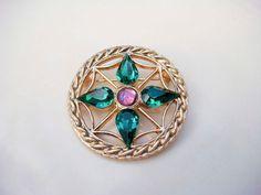 Vintage Gold Emerald Amethyst Brooch by PaganCellarJewelry on Etsy, $11.99
