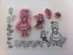 alice in wonderland hand carved stamps