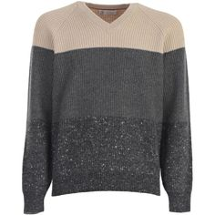 Sweater ($1,151) ❤ liked on Polyvore featuring men's fashion, men's clothing, men's sweaters, multicolour, mens vneck sweater, mens woolen sweaters, mens v neck sweater, mens wool sweaters and mens colorful sweaters