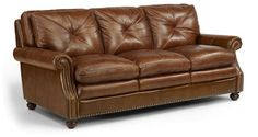 Flexsteel Furniture: Suffolk Collection Leather Sofa. Collection also features loveseat and chair with ottoman. #livingroom