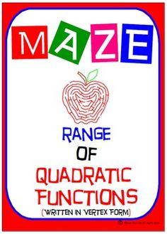 Maze - Quadratic Functions - Range of Quad Functions (Vert