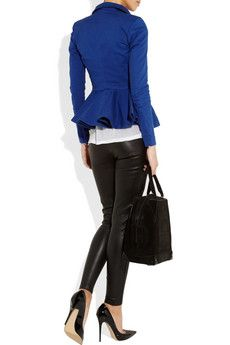 Love this bright blue jacket with a peplum waist!