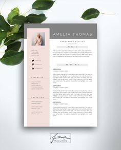 Creative cv template ideas Welcome to Fortunelle Resumes! In our shop you can get high quality, modern and elegant CV templates that are drawn by professional designer. Portfolio Design, Portfolio Resume, Portfolio Ideas, Portfolio Layout, Resume Layout, Resume Cv, Basic Resume, Visual Resume, Free Resume
