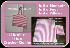 Posh Pooch Designs Dog Clothes: Crochet Quillo - Its a Blanket, It's a Pillow, It'...