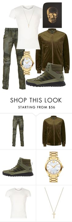 """""""Untitled #3495"""" by styledbycharlieb ❤ liked on Polyvore featuring Balmain, Topman, adidas, Movado, Versace, Gucci, Katie Leamon, men's fashion and menswear"""