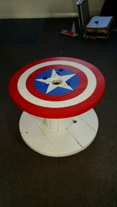 Captain America footstool made out of an old cable drum