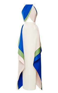 Wonderful - Tulip Gown by Rosie Assoulin for Preorder on Moda Operandi Silk Evening Gown, White Evening Gowns, White Ball Gowns, Silk Gown, Evening Dresses, Long Dresses, Dress Long, Pleated Dresses, White Cut Out Dress