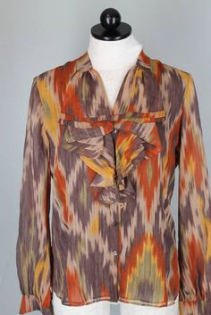 Lafayette 148 NY Brown Orange Southwestern Print 100% Silk Top Blouse Size 6 #Lafayette148NewYork #Blouse