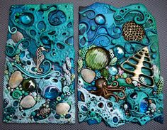 Two polymer clay pieces that include real shells and glass gems. One has a  solid brass octopus and the other some silver metal charms.  I love that slice of seashell!. I also used more foil candy wrappers under the glass gems on this one LOL!  The seahorse piece is going on a journal for a co-worker. I'm not sure if I am going to put the other on a journal, a painted canvas or frame it in a shadow box.  Any suggestions?
