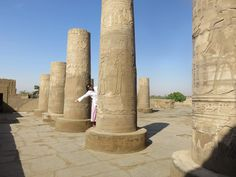 There was some peek-a-boo posing at the #KomOmbo temple. The Temple of Kom Ombo is an unusual double temple built during the Ptolemaic dynasty in the #Egyptian town of Kom Ombo. Some additions to it were later made during the #Roman period. The building is unique because its 'double' design meant that there were courts, halls, sanctuaries and rooms duplicated for two sets of gods.